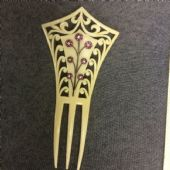 Edwardian Hair Comb Ivory Colour with Pink and White Jewelled Flowers Circa 1910 (SOLD)